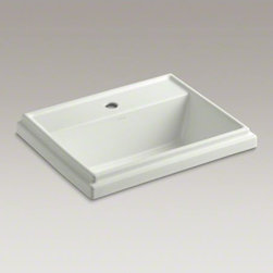 KOHLER - KOHLER Tresham(R) rectangular drop-in bathroom sink with single faucet hole - Recalling the elegant simplicity of Shaker-style furniture, Tresham blends classic American design with a modern eclectic sensibility. This rectangular basin's raised rim helps keep water from splashing over the side and also adds a distinctive design ele