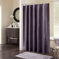 Madison Park - Madison Park Mendocino Shower Curtain - Add a pop of color to your bathroom décor with this polyester shower curtain. This Madison Park Mendocino shower curtain features a beautiful purple hue. This shower curtain is 72-inches long,72-inches wide,and machine washable for convenience.