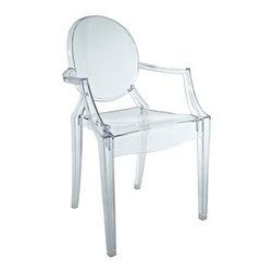 Philippe Starck–Style Mini Louis Ghost Chair, Clear - I'm on the fence about the Ghost chair; however, I think in certain situations (like in a modern glam home), it is the perfect chair.