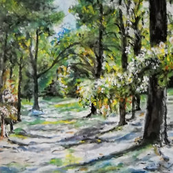 Rock Cut State Park, Original, Painting - Lose yourself in this captivating painting by Emily Farmer, ambling along its tree-lined, sun-dappled pathway. Charming, absorbing and richly detailed, it carves out a calm oasis wherever it hangs.
