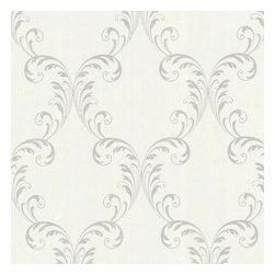 Brewster Home Fashions - Quill Platinum Ironwork Leaf Wallpaper Bolt - A delicate Baroque style scroll is presented with luxe silver glitter on a subtle fabric texture. Lining your walls with a curvaceous and romantic print this exquisite wallpaper unfurls an enchanting look for decor.