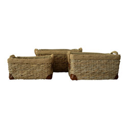 Polo Paddock Basket Set of 3 - One, two, three new ways to update and organize your home. Our Polo Paddock Basket Set is a smart and stylish addition. Use for magazines or sewing to keep things in order or fill with pine cones and potpourri for fresh new decor!