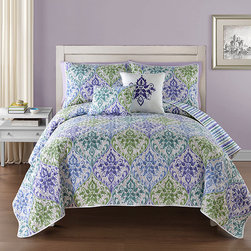 None - Gabrielle Multicolor Floral Reversible 5-piece Quilt Set - With a tightly stitched pattern on both sides,this lovely quilt features a beautiful blue and green schemed floral with an additional striped reverse pattern. The machine washable set includes matching shams and lovely decorative pillows.