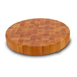 Catskill Craftsmen - Catskill Round Hardwood Chopping Block with Wooden Feet - Reversible, round end grain chopping block, Features bun feet with non-skid pads.  Available in two sizes:  2-inch and 3-inch-thick. Models 13147 and 1315.