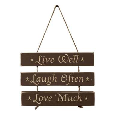 Live Well. Laugh Often. Love Much. - Amish Made Sign, Black - This fantastic reminder is carved perfectly with a CNC, then sanded, distressed, and finished by skilled Amish hands... Comes Ready To Hang...