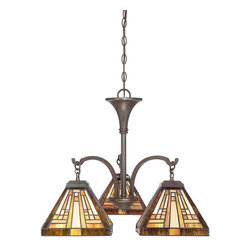 Quoizel - Quoizel TFST5103VB Stephen Traditional Tiffany Chandelier - This handcrafted Tiffany style collection illuminates your home with warm shades of amber, bisque and earthy green, arranged in a clean and simple geometric pattern reminiscent of the works of Frank Lloyd Wright.  The sturdy base complements the Arts & Crafts style, and is finished in a vintage bronze patina.