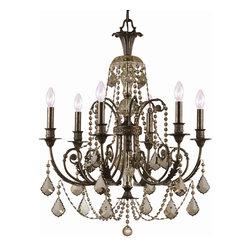 "Crystorama - Regis Chandelier - Medium - Golden Teak Hand Polished Crystal Wrought Iron Chandelier, English Bronze Finish. Takes 6 - 60 w/c bulbs. Chain: 72"" Wire: 120"""