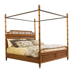 Frontgate - West Indies Bed - Crafted from maple and select hardwoods with a lightly distressed Plantation finish; metal canopy frame. Woven rattan panels provides indigenous Caribbean detailing. Carved wood posts are thoughtfully detailed with growth nodes, found on real bamboo poles. Posts can be used at half-height, without the canopy. Please note: Twin size does not include canopy. English refinement takes on a relaxed Caribbean pace in our West Indies Bed. Chippendale-style open fretwork on the headboard is placed on the diagonal to exude an Eastern influence, and the wood posts - which support a metal canopy frame - are intricately carved to resemble traditional leather-bound bundled bamboo posts. Woven rattan paneling on the headboard, footboard, and side rails completes this authentic interpretation of Caribbean styling.  .  .  .  . . Coordinates with other items from our Tommy Bahama Island Estate collection .