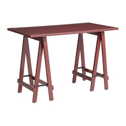 Sawhorse Desk, Mei Red - I love trestle desks because they are casual, simple and subtly industrial. This one has a perfect reddish hue as well.