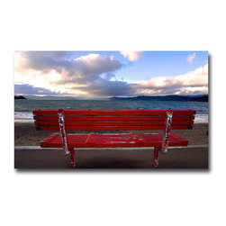 Red Bench New Zealand - Print, 10x15 - I had the good fortune of traveling to New Zealand on a story about Peter Jackson and Lord of the Rings. What a spectacular landscape. (And I'm not even talking about  Mr Jackson's mind.)  So somewhere between the movie sets and the hotel I came across the bench. Could have spent the entire day right here. But then I would have missed meeting Gandolf!