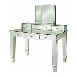 Catherine Vanity Desk - With beveled mirror body, sleek tapered legs and perfectly-poised drawers, the Catherine Desk or Vanity exhudes a confident, glamorous look. At home in the office or bedroom, Catherine Desk or Vanity features polished chrome pulls, steel drawer glides and optional tri-fold mirror. Bungalow 5 furniture, mirrors and accessories possess a versatility which allows them to slip as comfortably into a traditional room as a modern loft or sunroom.