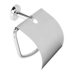 Gedy - Polished Chrome Toilet Roll Holder with Cover - Elegant wall mounted toilet paper holder with cover.