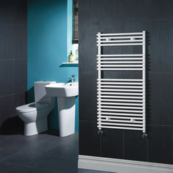 Hudson Reed - Flat White Bar on Bar Hydronic Towel Rail 45 inches x 18 inches - Flat White Bar on Bar Heated Towel Rail  Dimensions: 45¼ High x 17¾ Wide Output: 1259 BTU's / 369 Watts Pipe Centres: 16 inch Number of cross-bars: 24 divided into 3 sections of 15, 5, and 4 Fixing Pack Included Tested to BS EN442  Warranty: 10 years.  Please Note: Our radiators are designed for forced circulation closed loop systems only. They are not compatible with open loop, gravity hot water or steam systems.