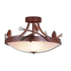 Avalanche-Ranch - Pine Cone Art: Crestline Semi Flush Ceiling Light Short - Rustic Semi-Flush Lights with Pine Cone artwork - Takes (3) 60W Medium bulb(s)