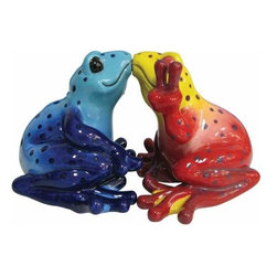 WL - 2.75 Inch Blue/Red Pair of Kissing Peace Frogs Salt and Pepper Shakers - This gorgeous 2.75 Inch Blue/Red Pair of Kissing Peace Frogs Salt and Pepper Shakers has the finest details and highest quality you will find anywhere! 2.75 Inch Blue/Red Pair of Kissing Peace Frogs Salt and Pepper Shakers is truly remarkable.