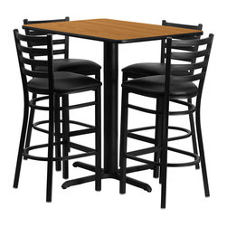Flash Furniture - Flash Furniture 24''W x 42''L Rectangular Natural Laminate Table Set with Chairs - No need to buy in pieces, this complete Bar Height Table and Stool set will save you time and money! This set includes an elegant Natural Laminate Table Top, X-Base and 4 Metal Ladder Back Bar Stools. Use this setup in Bars, Banquet Halls, Restaurants, Break Room/Cafeteria Settings or any other social gathering. Mix in Bar Height Tables with standard height tables for a more varied seating selection. This Commercial Grade Table Set will last for years to come with its heavy duty construction.