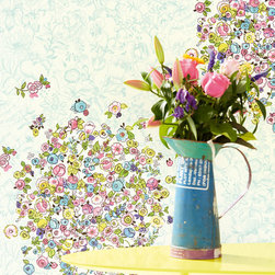 Raval - Bring a sunny disposition to your room with this gorgeous floral mural in happy shades of pink, yellow and blue.