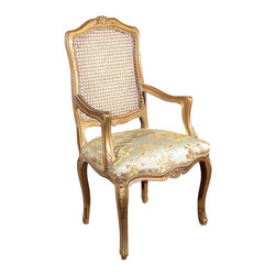 MBW Furniture - Gold French Style Rattan Back Floral Occasional Accent Arm Chair - This product is finely constructed from top grade solid wood. Artisans use the old world method of tongue and groove and mortise and tenon joinery to create this beautiful and durable piece of furniture. Its superb hand-crafted quality will add a touch of elegance to your home.