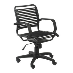 Euro Style - Bungie Flat Mid Back Office Chair - Black/Graphite Black - Designed to fit your seat.  And your back.  And your work style.  With natural ventilation, the Bungies turn long hours of work into the comfort zone.  No napping!