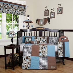 "Geenny - Boutique Scribble 13 Piece Crib Bedding Set in Blue / Brown - This listing is for a 13 piece beautiful Geenny brand new crib set with all the bundle you will need. This set is made to fit all standard cribs and toddler beds. The whole set comes with 10 pieces plus 3 new wall art decor hangings, which comes out as a total 13 piece bundle. The set is made by Geenny Designs, well known as Nursery Series Products Designs. All bundled pieces are in a brand new zippered, handled carrying bag. Dress up and decorate your baby's room with this beautiful 13 piece crib bedding set. Features: -Set includes: Crib quilt, two valances, skirt, crib sheet, bumper, diaper stacker, toy bag, two pillows, three wall hangings. -Color: Blue / Brown. -Material: 65 / 35 Percent of Polyester / Cotton. -Crib quilt: 45"" H x 36"" W. -Crib bumper: 10"" W x 158"" D. -Fitted crib sheet: 52"" H x 28"" W. -Window valances: 16"" H x 58"" W. -Crib skirt: 28"" H x 52"" W. -Toy bag: 20"" H x 14"" W. -Decorative accent pillows: 10"" H x 10"" W. -Machine washable."