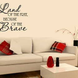 Land of the free Vinyl Wall Decal hd004, Black, 48 in. - Vinyl Wall Quotes are an awesome way to bring a room to life!