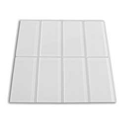 """Subway Tile Outlet - Smoke Glass Subway Tile - The Smoke Subway Tile is made from the strongest stain-resistant crystal clear glass and is a very light grey or off white colored tile. These tiles have a 8mm thickness that increases their durability and the depth of their color making them truly beautiful subway tiles. These subway tiles can be used for commercial or residential construction in either a wet or dry environment. These Subway tiles are sold by the square foot comprised of 8 mesh mounted tiles. The individual tiles measure 3""""x6""""."""