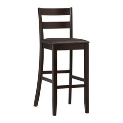 Linon Home Decor - Linon Home Decor Triena Collection Soho Bar Stool 30 X-U-DK-10-PSE76810 - With traditional styling, this Triena Soho Bar Stool will enhance your dining area with its casual charm. Therich espresso finish, dark brown wipe clean vinyl padded seat, and 30-inch high seat give this bar stool a timeless allure. Solid construction and quality craftsmanship have made this bar stool both sturdy and attractive.  This bar stool fits beautifully into a casual or formal d&#233:cor. 275 pound weight limit.