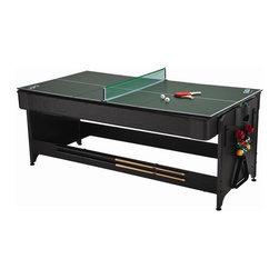 FatCat - Original Pockey 3-In-1 Game Table - Includes 2 x 57 Cues, 1 set of 2.25 in. billiard balls, 1 billiard brush, 1 resin triangle, 4 pushers, 4 pucks, table tennis top, 1 net & post set, 2 table tennis paddles, and 2 balls. Exclusive latch system. Table rotates from air powered hockey to billiards. 11ov motor with high output blower producing air flow of 80 cubic feet per minute. Included table tennis top. Billiards play surface features Tetolon cloth, rubber bumpers, and drop pockets. Storage rack for accessories. Table Size: 80 in. L x 44 in. W x 32 in. H. 90 days WarrantyConveniently get three of the most popular game room games in one table with the original 7' Pockey® 3-in-1 Game Table. Don't accept substitutes! The original Pockey® table features a patented latching system that is more sturdy and user friendly. Shoot some pool with some friends or easily flip the table for a fast-paced game of air hockey. Then top the table off with the included table tennis top and you've got the top 3 games all in one quality table! Accessories include billiard Cues, billiard balls, a triangle and a brush for the billiards side, goalies and pucks for the air hockey, and net, post, paddles, and balls for table tennis. This sleek table will fit perfectly in any rec room at an affordable price!