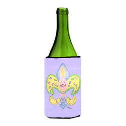 Caroline's Treasures - Easter Bunny Fleur de lis Wine Bottle Koozie Hugger - Easter Bunny Fleur de lis Wine Bottle Koozie Hugger Fits 750 ml. wine or other beverage bottles. Fits 24 oz. cans or pint bottles. Great collapsible koozie for large cans of beer, Energy Drinks or large Iced Tea beverages. Great to keep track of your beverage and add a bit of flair to a gathering. Wash the hugger in your washing machine. Design will not come off.