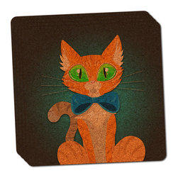 """Made on Terra - Orange Cat in Bowtie Thin Cork Coaster Set of 4 - You're just cleaning up after your epic party when you realize it... something's different. Unlike all those other times, you're not mopping up cup condensation from your counters and tables. This time, everyone used a coaster. Everyone. Maybe it's because you handed out a coaster with every glass. No. You've tried that before. No, this time it's because of the actual coasters. You found the cutest Made On Terra printed cork coasters. You love that everyone commented on how unique they were,  from the light-weight, thin cork material to the printing that creates a cool and subtle effect. Plus, they're really absorbent, but dry quickly. And they're made from an eco-friendly, sustainable resource, so that makes you feel pretty great, too. Choose from Made on Terra's many fabulous cork coasters. Measures 4"""" x 4"""" x 1/8"""". Made of thin cork. Super cute and nicely absorbent. Sold in sets of four."""