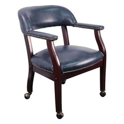 """Flash Furniture - Navy Vinyl Luxurious Conference Chair with Casters - This elegant reception/conference chair features upholstered arms, a contoured back, a solid hardwood mahogany frame, and individual brass nail head trimming. This chair will complement reception areas, libraries or your office as a guest chair. The carpet casters make the chair easy to move while sitting for meetings and conference settings.; Traditional Captain's Chair; Open Back Design; Navy Vinyl Upholstery; Brass Nail Trim on Arms and Seat; Upholstered Arms; Solid Hardwood Mahogany Frame; Brass Hooded Ball Casters; Meets and/or Exceeds all ANSI/BIFMA Standards; Assembly Required: Yes; Country of Origin: China; Warranty: 2 Years; Weight: 31 lbs; Dimensions: 30""""H x 24""""W x 25""""D"""