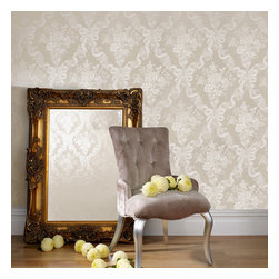 Graham & Brown - Glimmerous Wallpaper - Glimmerous, Glamorous and a fantastic way to embrace large scale classical design in a neutral palette. The ultimate in boudoir chic in a large scale floral damask print with a sprinkle of Juliens signature glitterati finish. This wallpaper is available in three shades, this beige with gold metallic ribbon and a golden glitter finish combines classical elegance with a modern twist. Pasting the wall instead of the paper means that its not only quicker to dress your wall, its also easier to remove when you want to strip them. The embossed texture also means that the surface is durable and washable giving you style substance and ease of use.