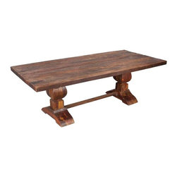 Sierra Rustic Reclaimed Wood Trestle Large Dining Room Table - Product Description