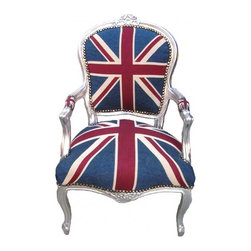 Lansky Studio - Beatrix French Louis XV Style Chair in Union Jack, Silver - A fabulous French Rococo Style Armchair. Mahogany wood frame hand finished in silver.Fabulous hand carvings.Union Jack (English flag) Fabric upholstery. Comes with nail heads throughout the frame.