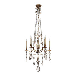Fine Art Lamps - Fine Art Lamps 708640-3ST Encased Gems Bronze Clear Crystal 8 Light Chandelier - 8 Bulbs, Bulb Type: 60 Watt Candelabra; Weight: 48lbs
