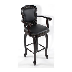 Trade Wind Treasures - Classic Wood Elegance Swivel Barstool (24 in.) - Choose Seat Height: 24 in.. Black leatherette padded seat and back. Nail trim. Made from solid wood. Burnt cherry finish. 18 in. square seat24 in.. Back height: 43 in.. Arm height: 33 in.30 in.. Back height: 49 in.. Arm height: 39 in.. Warranty