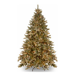 7 1/2 Ft. Snowy Concolor Fir Christmas Tree w/ Cones & 750 Clr Lights - Measures 7.5 feet tall with 63 inch diameter. Pre-lit with 750 UL listed, pre-strung Ready-Lit Clear lights. Includes foot switch to operate lights. Tip count: 1769. Trimmed with snow-tipped pine cones. All metal hinged construction (branches are attached to center pole sections). Comes in three sections for quick and easy set-up. Includes sturdy folding metal tree stand. Light string features BULB-LOCK to keep bulbs from falling out. If one bulb burns out the others remain lit. Fire-resistant and non-allergenic. Includes spare bulbs and fuses. 5-year tree warranty / 2-year lights warranty. Packed in reusable storage carton. Assembly instructions included.