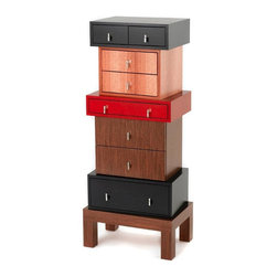 Milan Heger - Louis Dresser - This designer dresser combines multiple contrasting materials and wood veneers. High quality hidden drawer glides, unique stainless steel pulls. Made to order.
