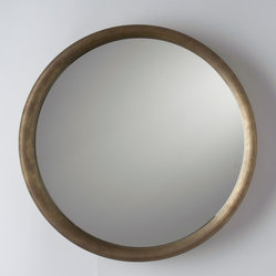 Higgins Round Mirror - This is a great mirror. I can really picture the beautiful finish of the frame lending warmth to a monochromatic room.