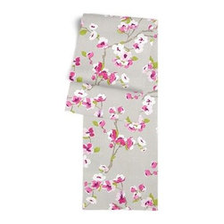 Gray & Magenta Cherry Blossom Custom Table Runner - Get ready to dine in style with your new Simple Table Runner. With clean rolled edges and hundreds of fabrics to choose from, it's the perfect centerpiece to the well set table. We love it in this light gray and fuchsia cherry blossom linen print that will make your room as refined and serene as a real Japanese garden.