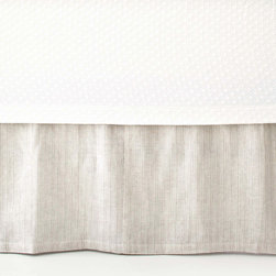 Pine Cone Hill - PCH Pinstripe Linen Dove Gray Bed Skirt - Pinstripe offers contemporary bedding a layer of sophistication in neutral dove gray. This beautifully textured bed skirt is created with the quality craftsmanship for which PCH is known. 18' drop; Available in twin, full, queen and king; 100% linen; Designed by Pine Cone Hill, an Annie Selke company; Machine wash
