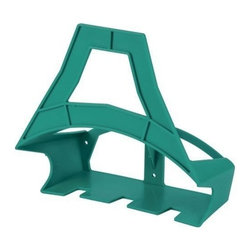 Gilmour Hose Caddy - Durable, rust -free poly hanger. Holds up to 200' of 1/2'' or 150' of 5/8'' hose. Handy accessory rack for hanging nozzles, sprayers and accessories plus storage for garden gloves.