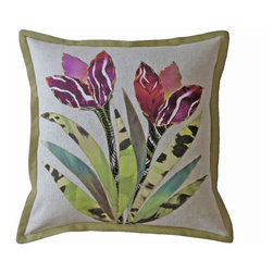 """So Instincts - Deux Fleurs - Stylized floral is appliquéing on flax colored linen using multiple rayon knit prints and outlined with decorative stitching.  Pear green linen/cotton blend used for flange and back of pillow.  Pillow measures 22""""X22"""" including flange."""