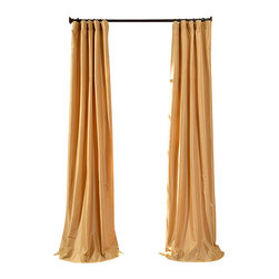 "Exclusive Fabrics & Furnishings, LLC - Honey Faux Silk Taffeta Curtain - 56% Nylon & 44% Polyester. 3"" Pole Pocket with Hook Belt. Lined. Interlined. Imported. Weighted Hem. Dry Clean Only. SOLD PER PANEL."