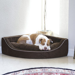 Frontgate - Animals Matter Corner Lounger Pet Bed Dog Bed - Cushion is generously overstuffed with down-like hypoallergenic fiberfill for added comfort. Easy-care tufted microsuede cushion. Machine wash and line or cool dry. With our Animals Matter Corner Lounger Pet Bed your pet will feel safe and comfortable tucked away in a cozy corner of the room. Smartly styled in luxurious microsuede with white piping, this pet bed fits neatly into a corner and easily blends with any decor.. . . Made in USA.
