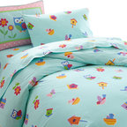 Wildkin - Olive Kids Birdie Twin Duvet Cover - Tweet, tweet! Our Birdie bedding is something to tweet about! The duvet cover is scattered with birds, flowers and birdhouses on a robins egg blue and made of the same soft cotton percale as our sheets.