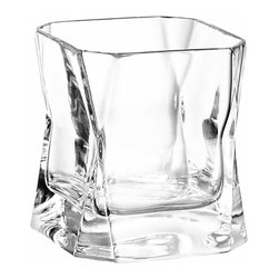 Arnolfo Di Cambio - CiBi Old Fashion Crystal Glass (Set of 2) - A slightly smaller version (7.4 oz) of the famous Double Old Fashion Crystal Glass made famous by Harrison Ford in the movie Blade Runner, the Old Fashion glass also was designed by Cini Boeri and is mouth blown and hand cut by master glass-makers in Colle val d' Elsa, Tuscany. It features a square form cut diagonally at the corners and unusual tapering in the middle. It is the perfect gift for that man who has everything but this crystal cocktail glass! It is perfect for vodka, whiskey, scotch or the drink of your choice. Set of two in a beautiful gift box. Made in Italy.