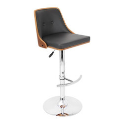 Lumisource - Nueva Barstool in Walnut and Black - Color/Finish: Walnut Wood and Black Seat. Construction: Wood, Faux Leather, Chrome, and Foam. Swivels 360 degrees. Due to the natural variation in wood, color may vary slightly. 19.25 in. L x 17.75 in. W x 37.5-42.5 in. H. Seat Height: 27 in.-32 in.. Backrest: 12 in. H. Seat: 17.25 in. W x 16 in. D. Weight: 23.5 lbs.Relax in retro style on the Nueva Barstool! This adjustable height stool with footrest is sure to bring a touch of style to any room with its wooden backrest and padded leatherette seating. Seat adjusts from 27 in. - 32 in. high and barstool swivels 360 degrees for comfort and convenience.