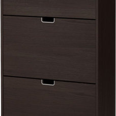 STÄLL Shoe cabinet with 3 compartments - black-brown - IKEA