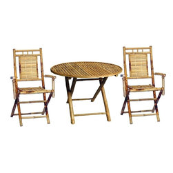 """Bamboo54 - Bamboo Round 3-Piece Bistro Set - Style and substance personified in this bamboo bistro / patio set. Made from all natural bamboo, it is tiki and island style inspired and suitable for indoor and out door use. Round table measures 29.5"""" in diameter and is 27"""" H. Both the table and chairs fold up for easy storage when not in use."""